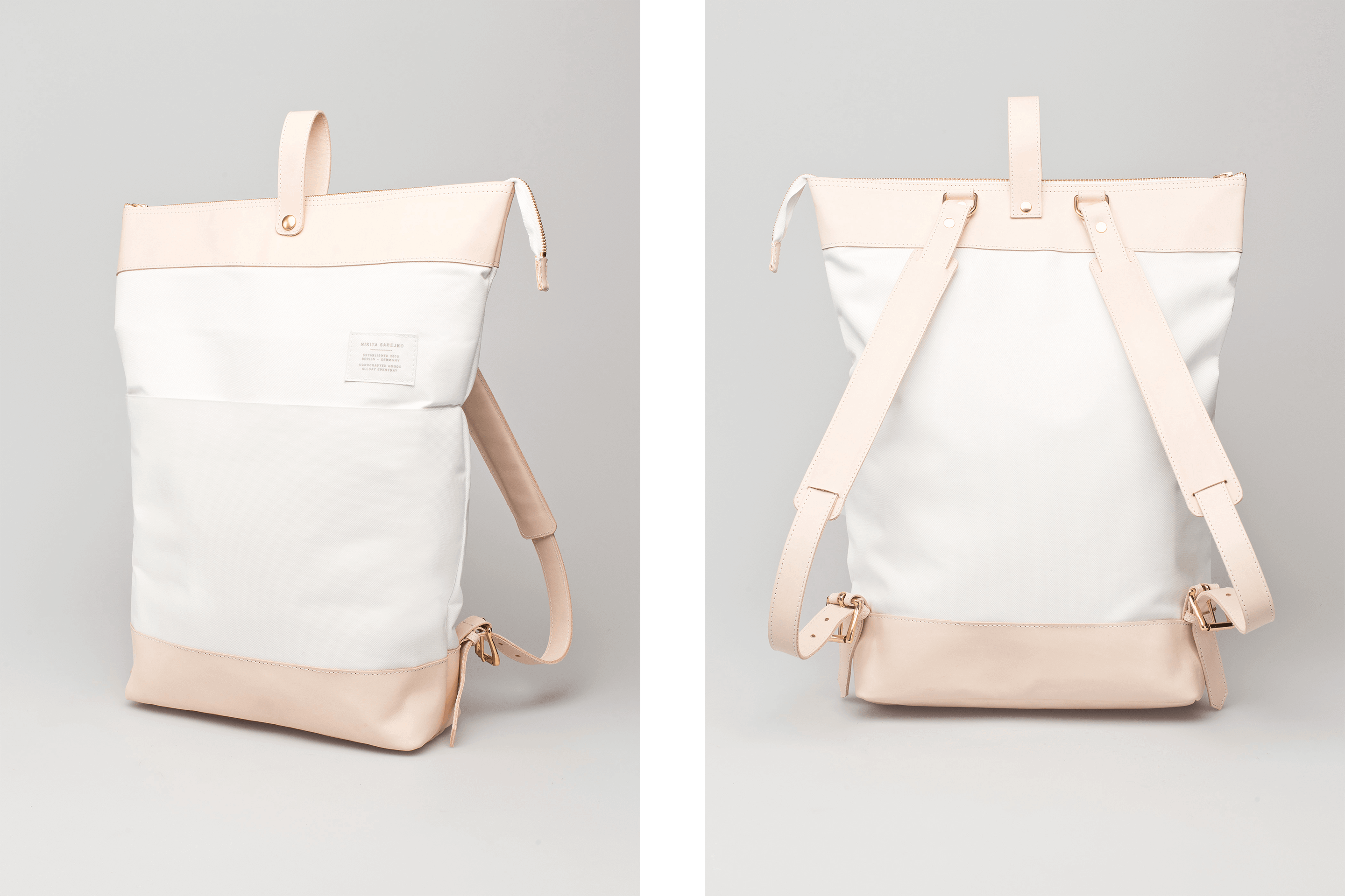 Demian backpack front and back view