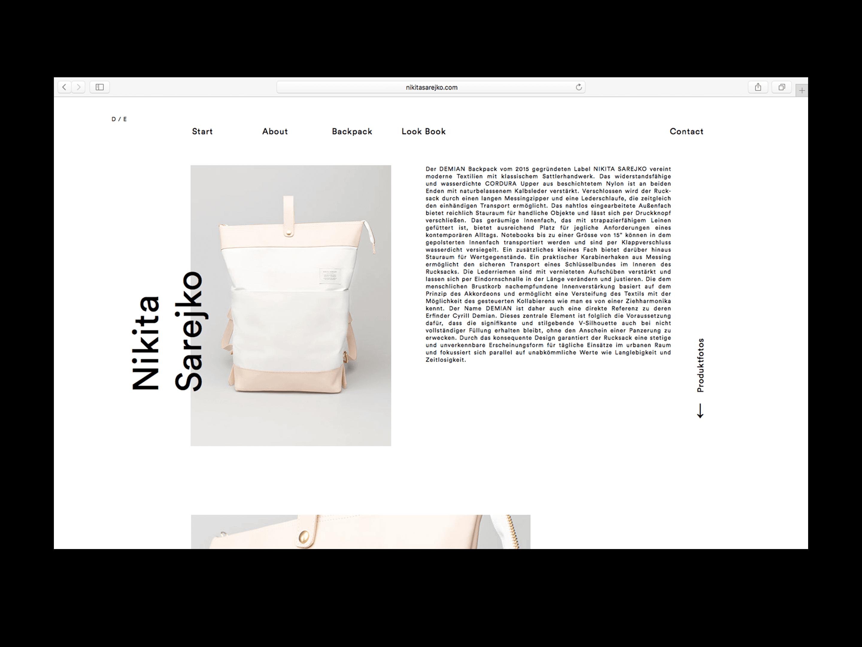 Demian backpack website