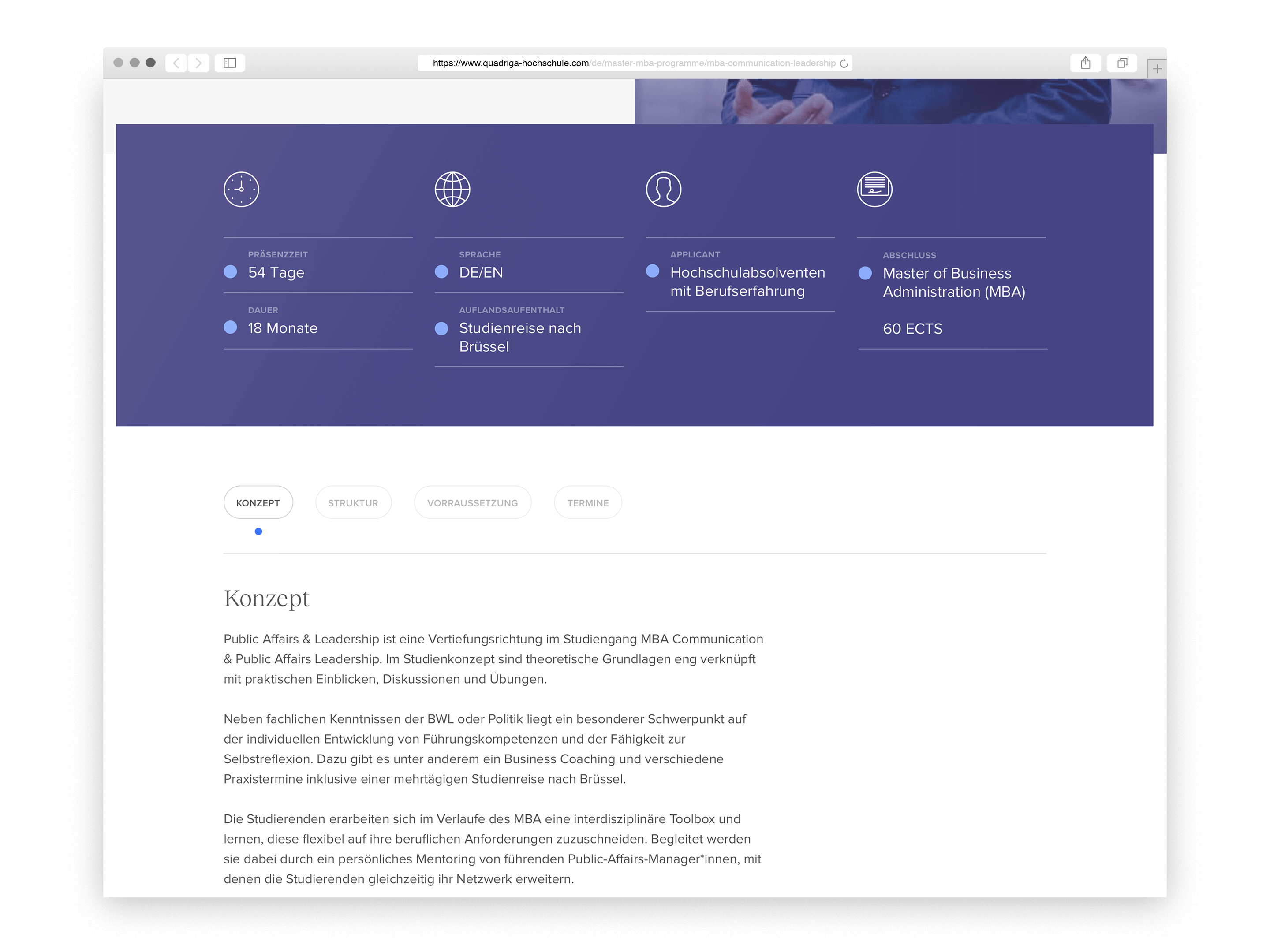 Quadriga University product detail page